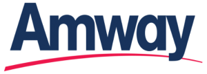Amway in a dark blue with a red curved line underneath the logo. Amway Logo