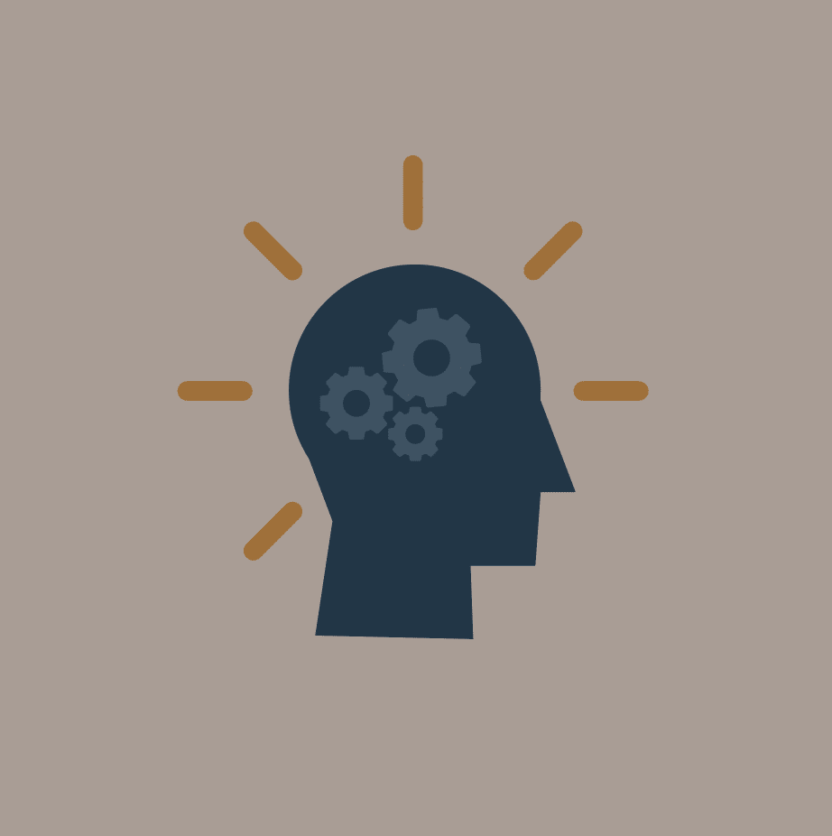 An icon of a head with gears turning in the brain.