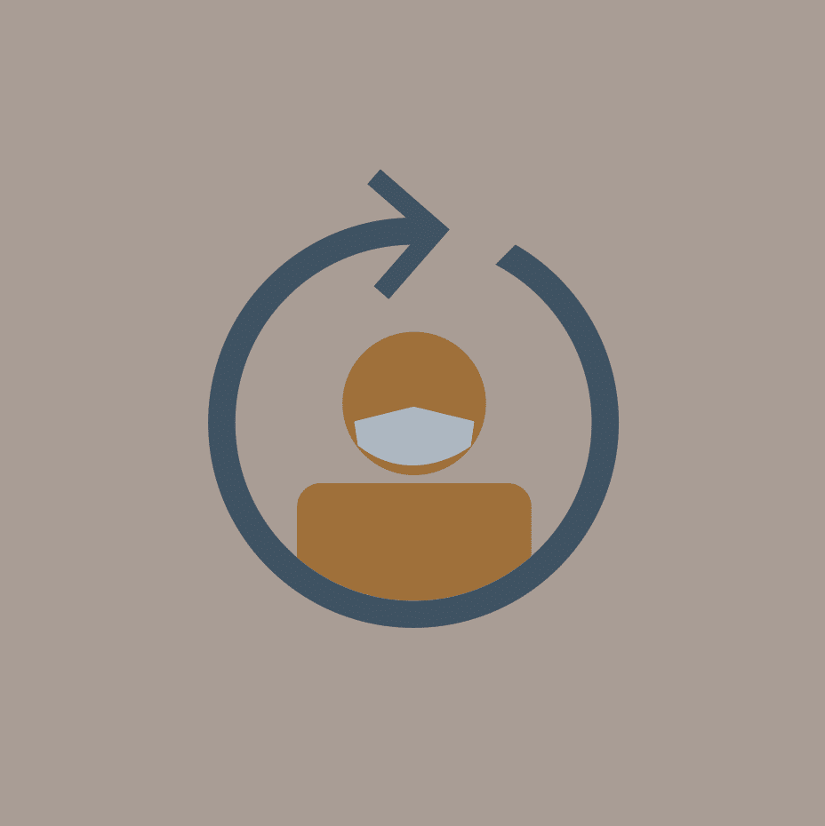 An icon of a person wearing a facemask with an arrow around it making a circle.