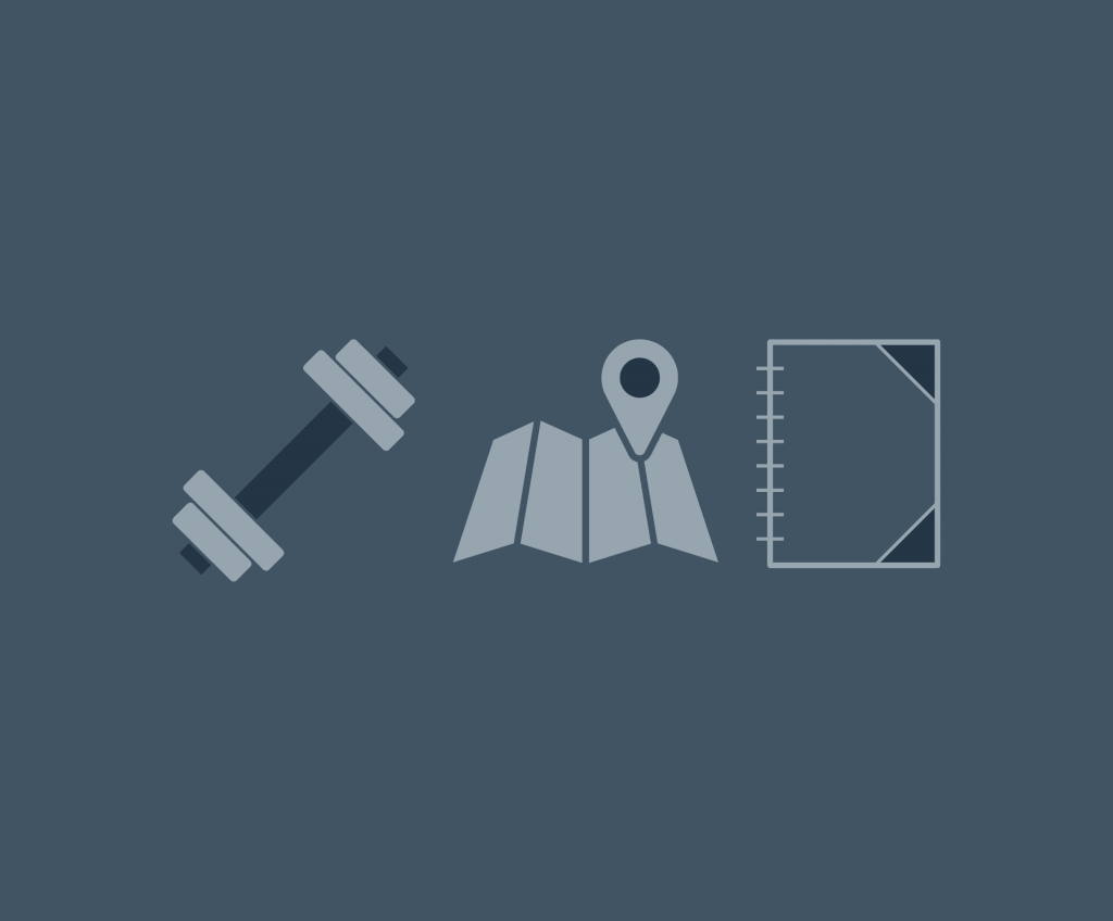 A greyish-blue background with three grey icons. A dumbell, a map and a notebook are all representing what's in your bag?