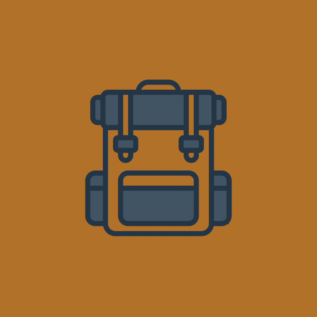 An icon of a hiking backpack with browns and blues.