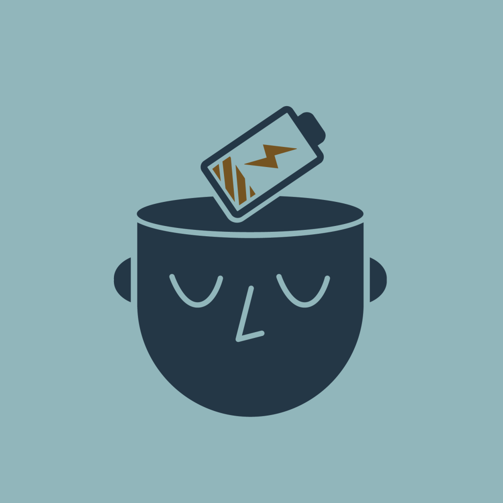 An icon of a human head with a charging battery representing the brain with a teal background. How to get motivated when you aren't feeling it.
