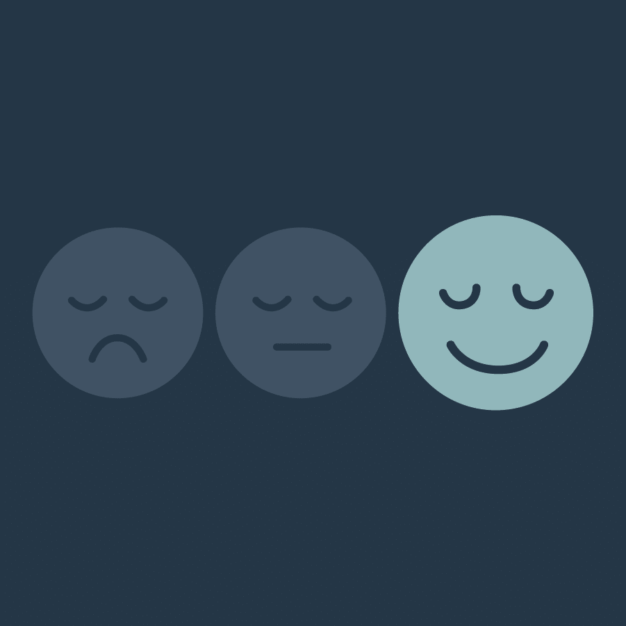 Three circles with faces on them, showing a progression of moods from sad to happy. The happy face is bigger than the rest with a bright teal color showing it's all going to be alright.