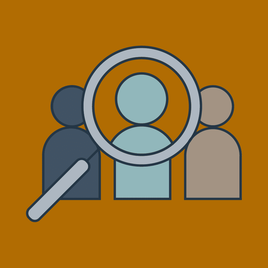 A magnifying glass focusing on one person instead of the distractions of all others. Focusing on one object helps you stay present.
