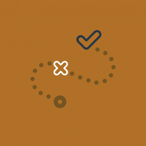 A burnt orange background with a dotted curved line, an X half way thru it and a check mark at the end.