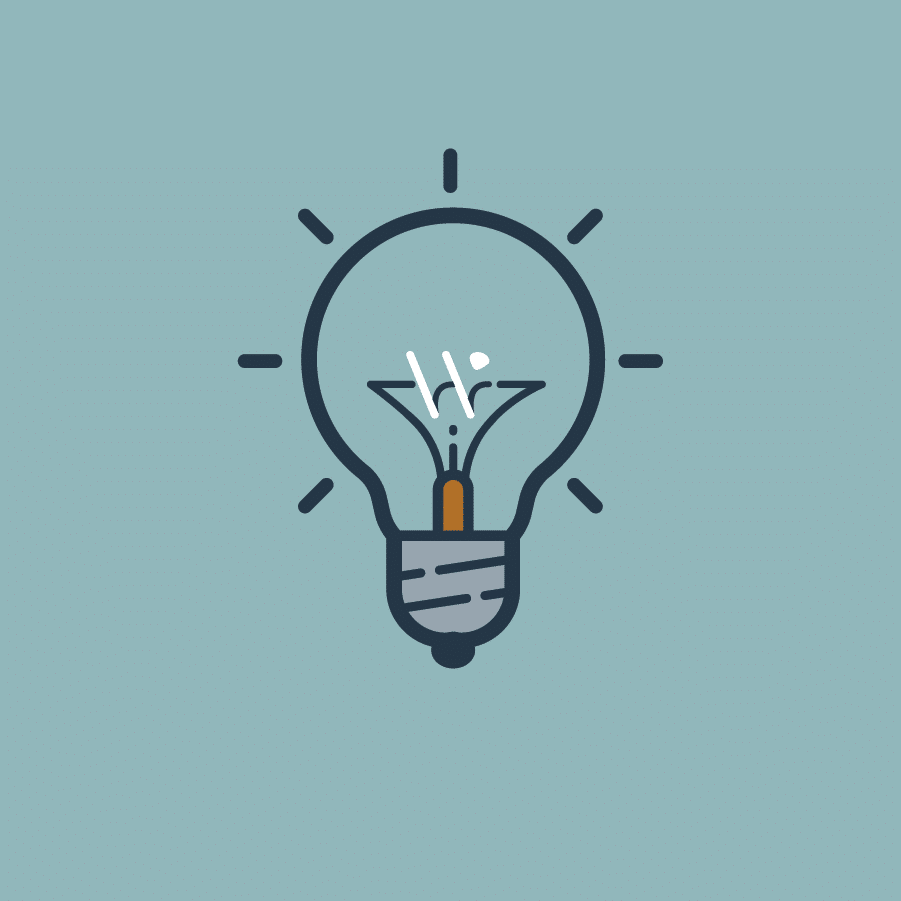 A teal background with a light bulb icon with a W as the light wires.
