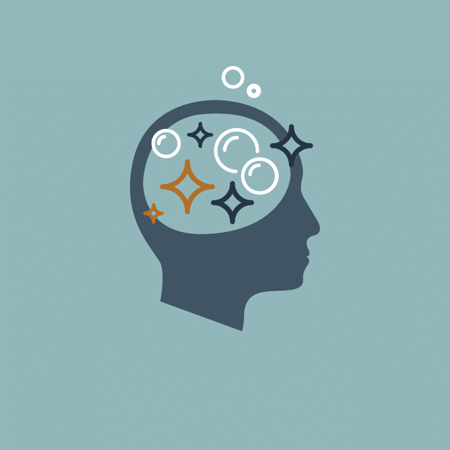 An icon of a head with clean bubbles and sparkles coming out of the brain area. Clean mindset represented on a teal background.