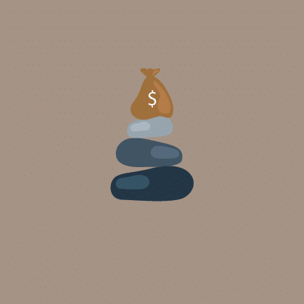 A stack of balance rocks with a bag of money at the top.
