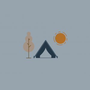 An icon of a tree, tent and a sun next to one another.