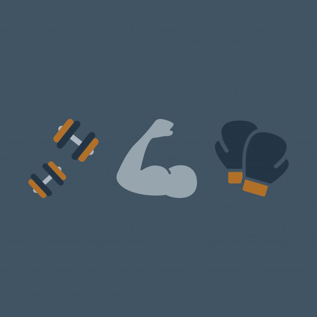 Icons of different exercise tools. Break your boredom by lifting weights, HIITt or even kickboxing.