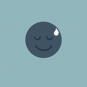 A smiley face with a sweat drop on it's forehead.